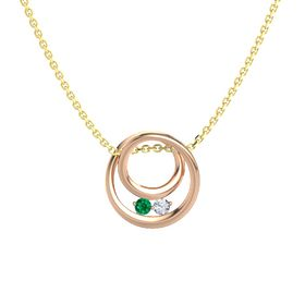 Round Emerald 18K Rose Gold Pendant with Diamond