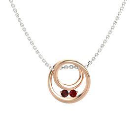 Round Red Garnet 18K Rose Gold Pendant with Ruby