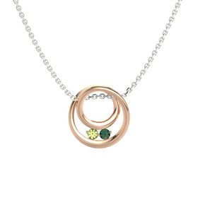 Round Peridot 18K Rose Gold Necklace with Alexandrite