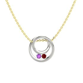 Round Amethyst 18K White Gold Pendant with Ruby