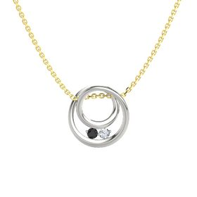 Round Black Diamond 18K White Gold Pendant with Diamond