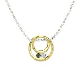 Round Green Tourmaline 18K Yellow Gold Necklace with Diamond