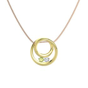 Round Peridot 18K Yellow Gold Pendant with Diamond