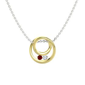 Round Ruby 18K Yellow Gold Pendant with Diamond