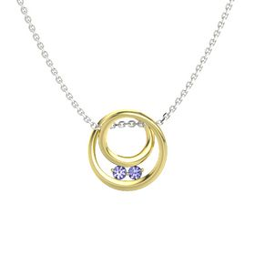 Round Tanzanite 18K Yellow Gold Pendant with Tanzanite