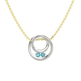 Round London Blue Topaz Platinum Pendant with London Blue Topaz