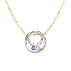 Round Amethyst Platinum Pendant with Diamond