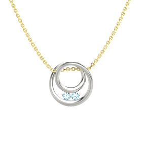 Round Blue Topaz Platinum Pendant with Blue Topaz