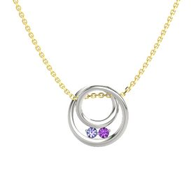Round Tanzanite Platinum Pendant with Amethyst