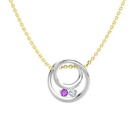 Round Amethyst Sterling Silver Pendant with Diamond