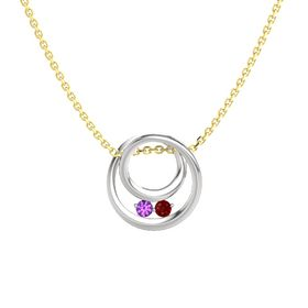 Round Amethyst Sterling Silver Pendant with Ruby