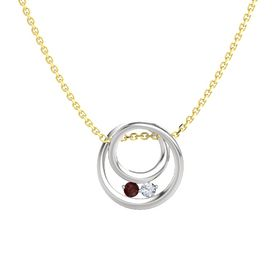 Round Red Garnet Sterling Silver Pendant with Diamond