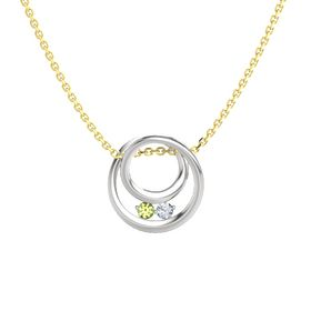 Round Peridot Sterling Silver Pendant with Diamond