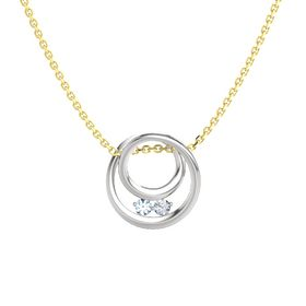 Round Aquamarine Sterling Silver Pendant with Diamond