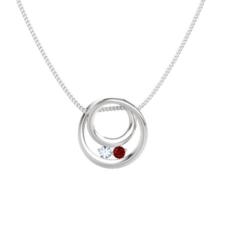 Round aquamarine sterling silver pendant with ruby inner circle inner circle pendant aloadofball Choice Image