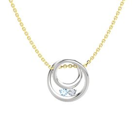 Round Blue Topaz Sterling Silver Pendant with Diamond