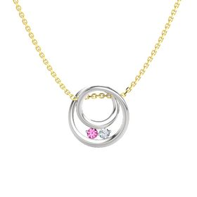 Round Pink Tourmaline Sterling Silver Pendant with Diamond