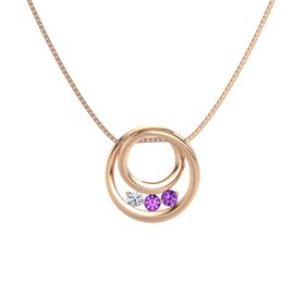 Round Amethyst 14K Rose Gold Pendant with Amethyst and Diamond