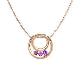 Round Amethyst 14K Rose Gold Pendant with Amethyst and Rhodolite Garnet