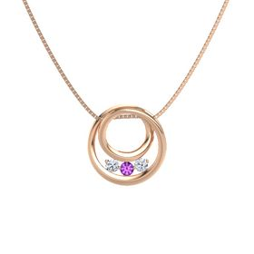 Round Amethyst 14K Rose Gold Pendant with Diamond