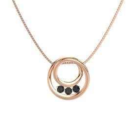 Round Black Diamond 14K Rose Gold Necklace with Black Diamond