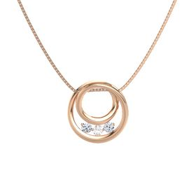 Round Rock Crystal 14K Rose Gold Pendant with Diamond