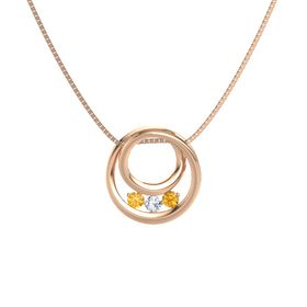 Round Diamond 14K Rose Gold Necklace with Citrine