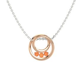 Round Fire Opal 14K Rose Gold Necklace with Fire Opal