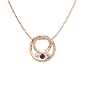 Round Red Garnet 14K Rose Gold Pendant with Diamond