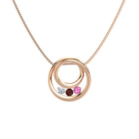 Round Red Garnet 14K Rose Gold Pendant with Pink Tourmaline and Diamond