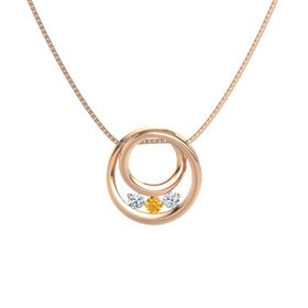 Round Citrine 14K Rose Gold Pendant with Diamond