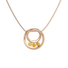 Round Citrine 14K Rose Gold Necklace with Citrine