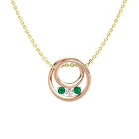 Round White Sapphire 14K Rose Gold Pendant with Emerald