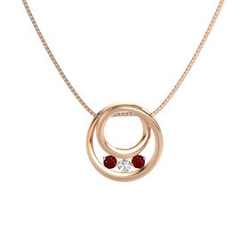 Round White Sapphire 14K Rose Gold Pendant with Ruby
