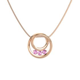Round Pink Sapphire 14K Rose Gold Pendant with Pink Sapphire