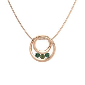 Round Green Tourmaline 14K Rose Gold Pendant with Alexandrite