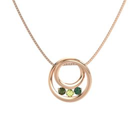 Round Peridot 14K Rose Gold Pendant with Alexandrite and Green Tourmaline