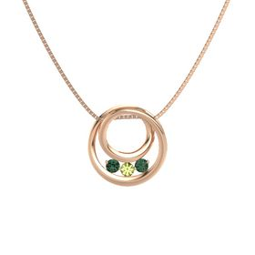 Round Peridot 14K Rose Gold Pendant with Alexandrite