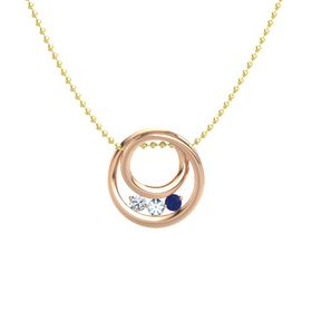 Round Aquamarine 14K Rose Gold Pendant with Blue Sapphire and Diamond