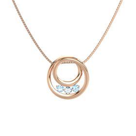 Round Aquamarine 14K Rose Gold Pendant with Blue Topaz
