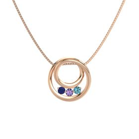 Round Iolite 14K Rose Gold Necklace with London Blue Topaz & Sapphire