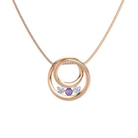 Round Iolite 14K Rose Gold Pendant with Diamond