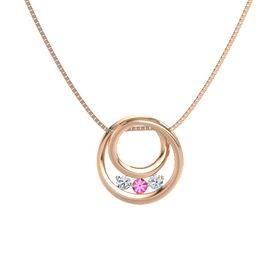 Round Pink Tourmaline 14K Rose Gold Pendant with Diamond