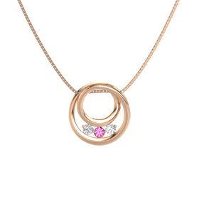 Round Pink Tourmaline 14K Rose Gold Pendant with White Sapphire
