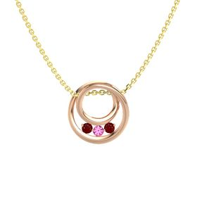 Round Pink Tourmaline 14K Rose Gold Necklace with Ruby
