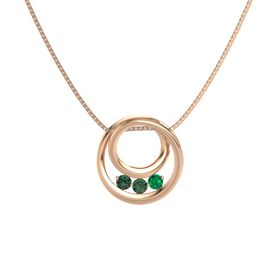 Round Alexandrite 14K Rose Gold Pendant with Emerald and Alexandrite