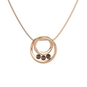 Round Smoky Quartz 14K Rose Gold Necklace with Smoky Quartz