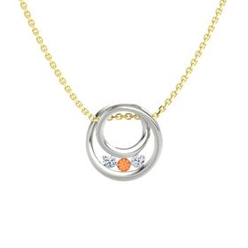 Round Fire Opal 14K White Gold Pendant with Diamond