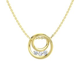 Round Diamond 14K Yellow Gold Pendant with Diamond