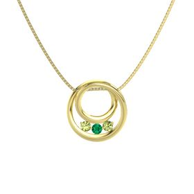 Round Emerald 14K Yellow Gold Necklace with Peridot